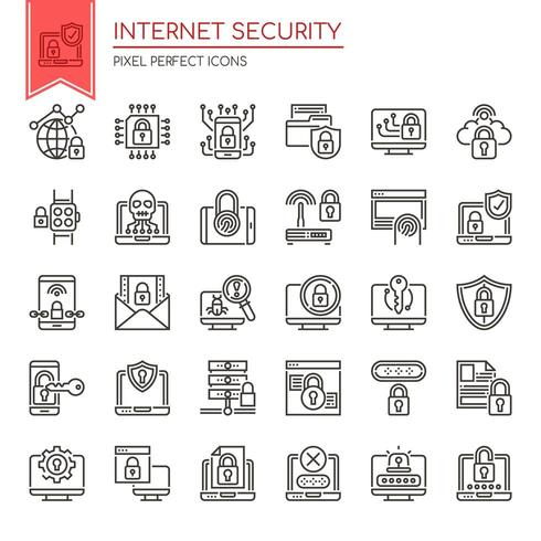 Conjunto de iconos de seguridad de Internet de línea delgada en blanco y negro