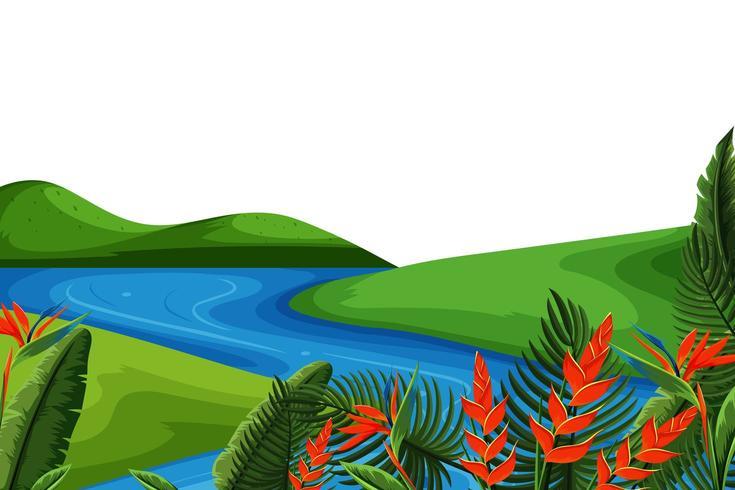 Paysage de colline verdoyante avec rivière vecteur