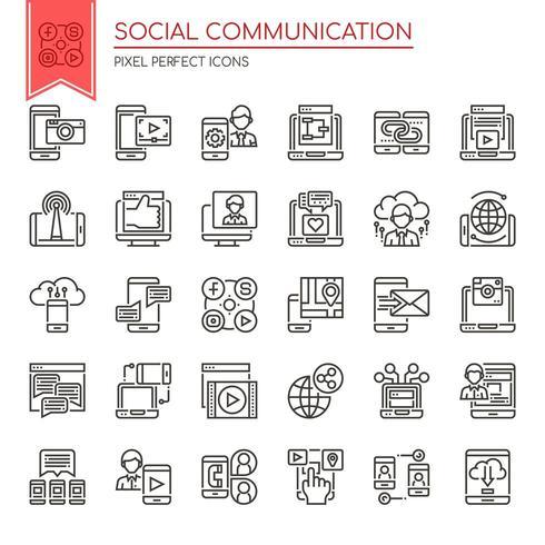 Ensemble d'icônes de communication sociale noir et blanc