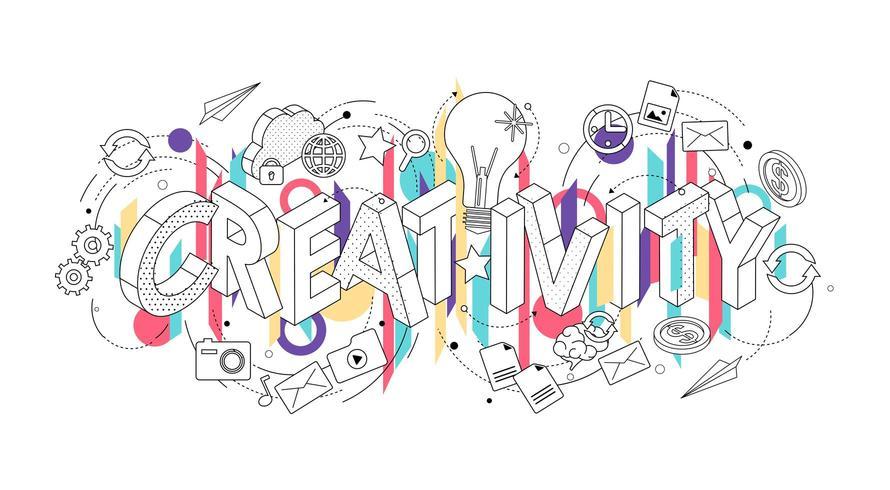 Concept isométrique avec des lettres minces épelant le mot créativité vecteur