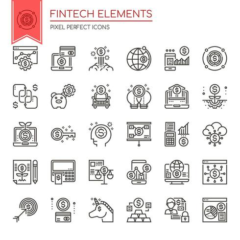 Set of Black and White Thin Line Fintech Elements