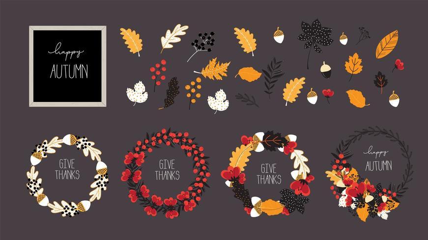Elemento de vetor de outono e outono para venda e modelo de design de banner