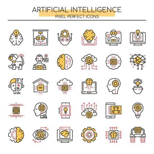 Uppsättning av Duotone tunn linje konstgjord intelligens ikoner
