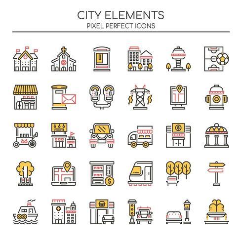 Insieme di elementi di città di linea sottile di due tonalità vettore