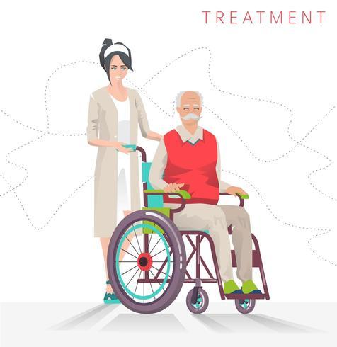 Donna con uomo anziano in sedia a rotelle