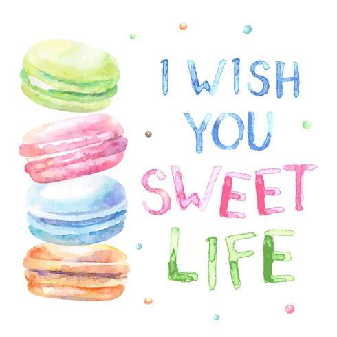 Macarons aquarelles avec texte I Wish You Sweet Life vecteur