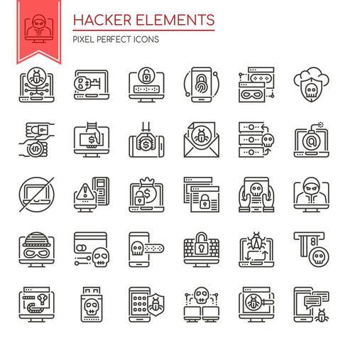 Conjunto de elementos de hacker de linha fina preto e branco