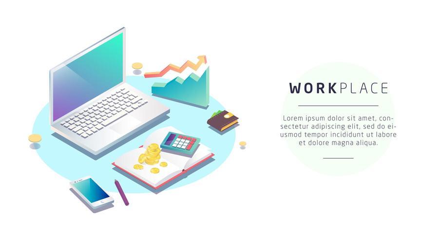 Isometrisches Konzept des Arbeitsplatzes mit Laptop und Büroausstattung
