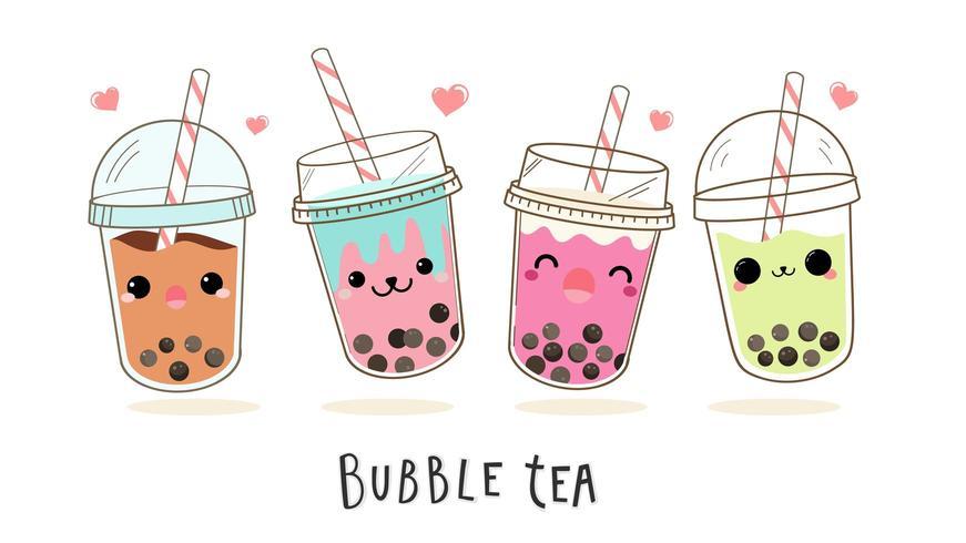 Personaggi dei cartoni animati svegli della bolla del tè al latte messi
