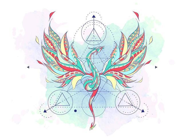 Dragón volador estampado rodeado de elementos de geometría