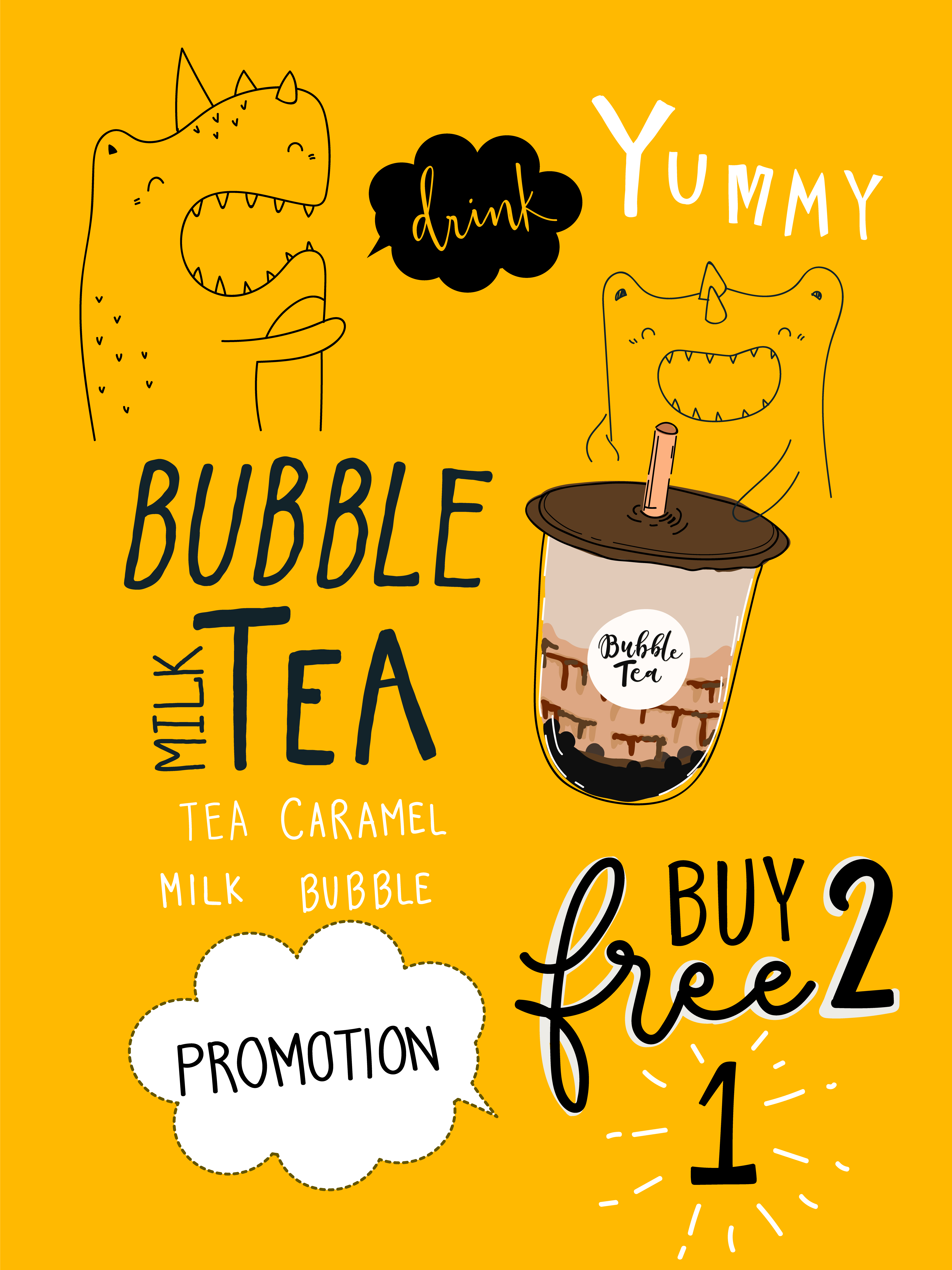 Bubble tea Special Promotions BOGO Design - Download Free