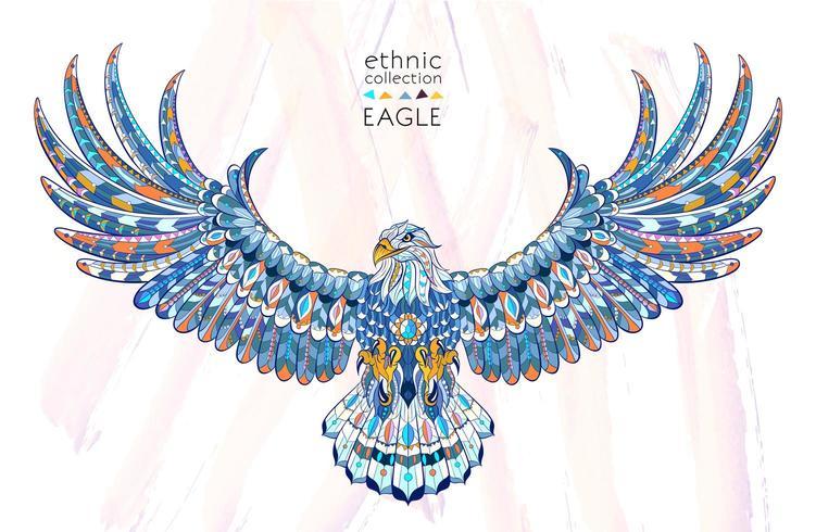Águila estampada con alas extendidas vector