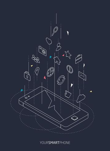Isometric wireframe concept of smartphone with different icons floating above screen