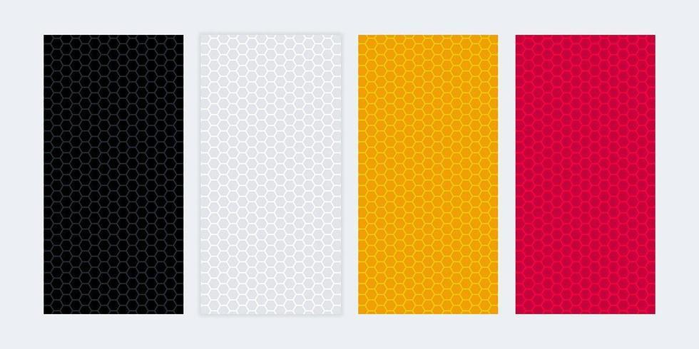 Bannières vierges colorées avec des textures en nid d'abeille vecteur