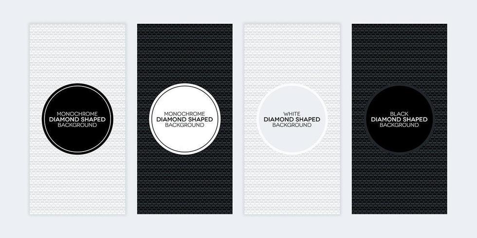 Bannières noires et blanches avec des textures en forme de diamant vecteur