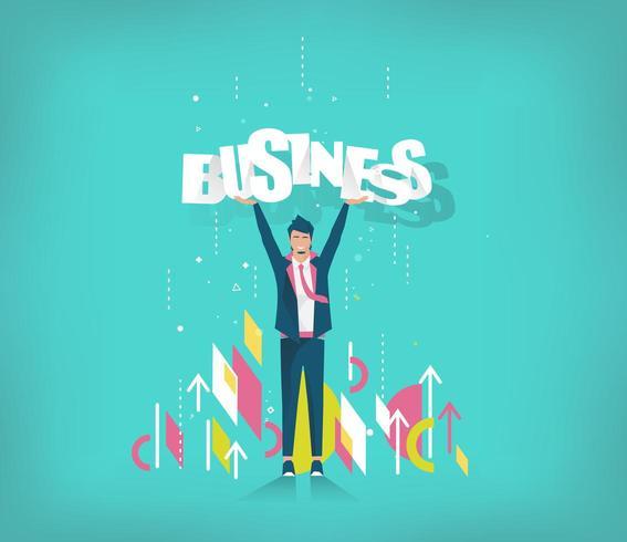 Homme d'affaires tenant le mot Business au dessus de la tête vecteur