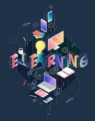 Conceito isométrico com ortografia de letras de linha fina E-Learning