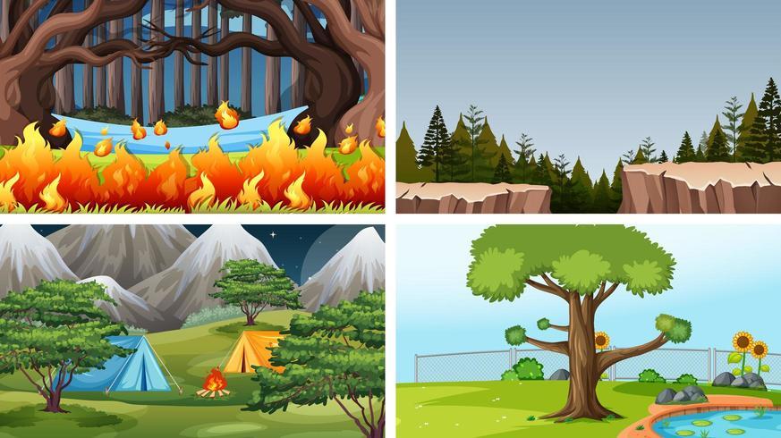 Uppsättning av olika tecknad filmbakgrunder