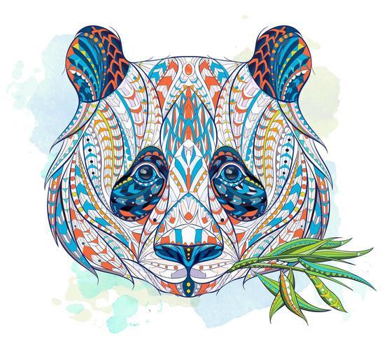 Testa modellata del panda che mastica sulle foglie vettore