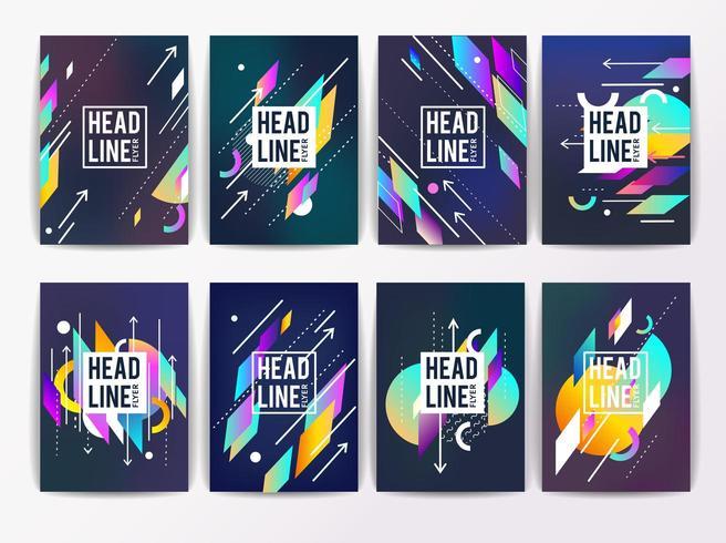 Set di volantini colorati astratti geometrici vettore
