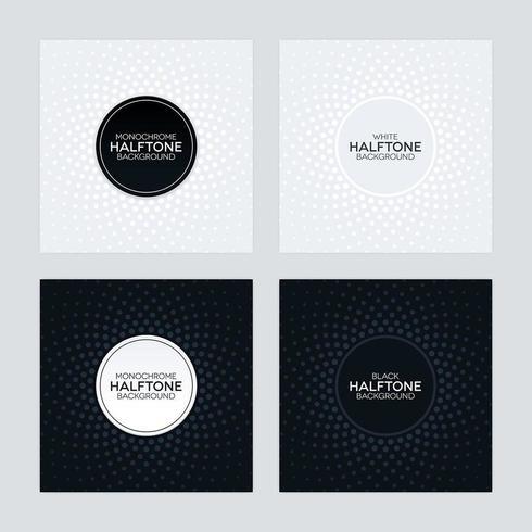 Arrière-plans noir et blanc avec des textures de demi-teintes vecteur