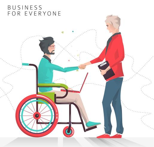 Partnership between disabled person working with notebook and business man.