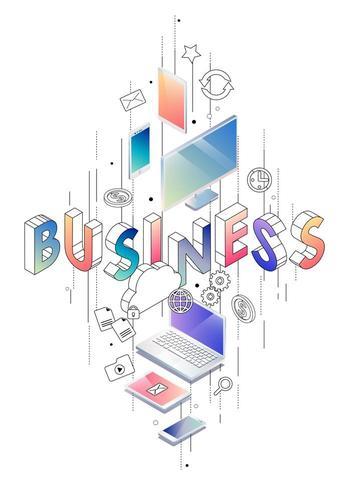 Concepto isométrico con letras de línea fina que deletrea la palabra negocio