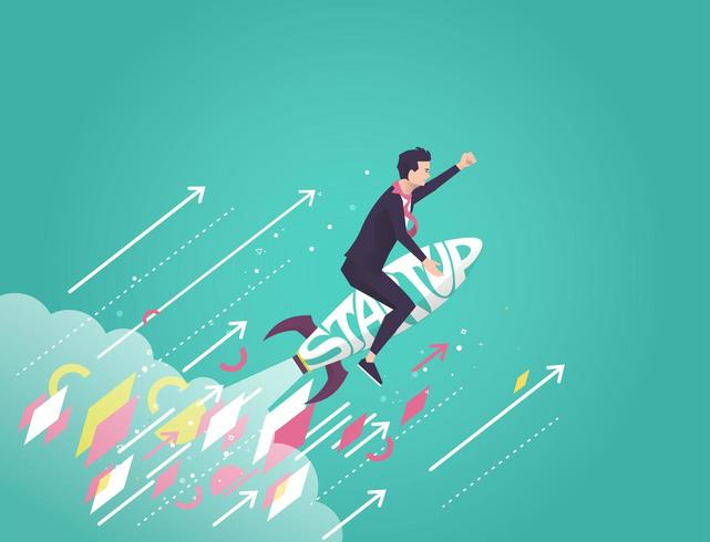 Businessman flying on a rocket made of the word Startup