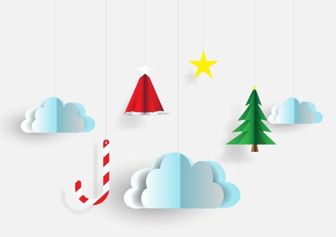 Kerst papier gesneden stijl ornamenten