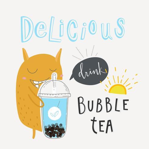 Cartel promocional especial del delicioso té de burbujas vector