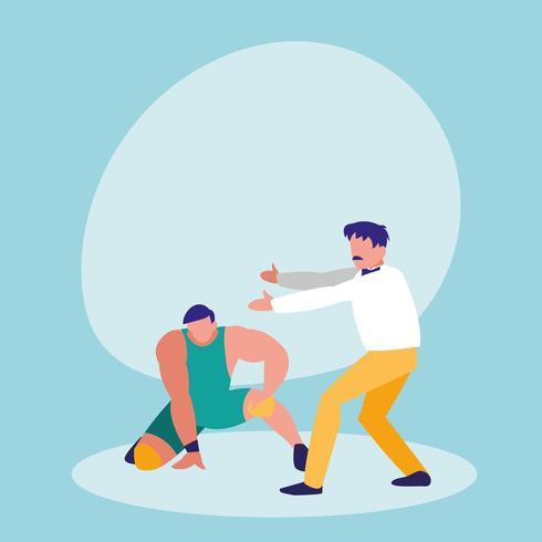 árbitro de boxeo con personaje avatar jugador