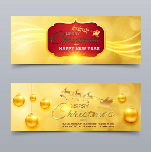 Golden Ornament Themed Merry Christmas and Happy New Year Cover for social networks