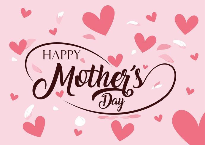 feliz tarjeta del día de la madre con corazones
