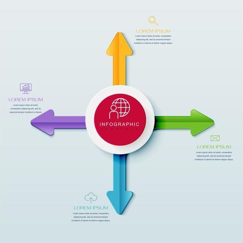 Infográfico de 4 etapas com setas de um círculo vetor