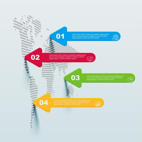 Världskarta infographic med fyra steg och pilar