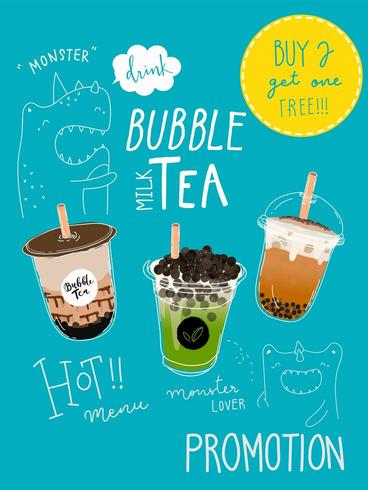 Handgetekende Monster Thema Bubble tea Speciale Promoties Poster