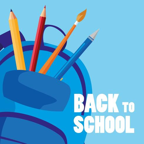back to school bag with supplies vector