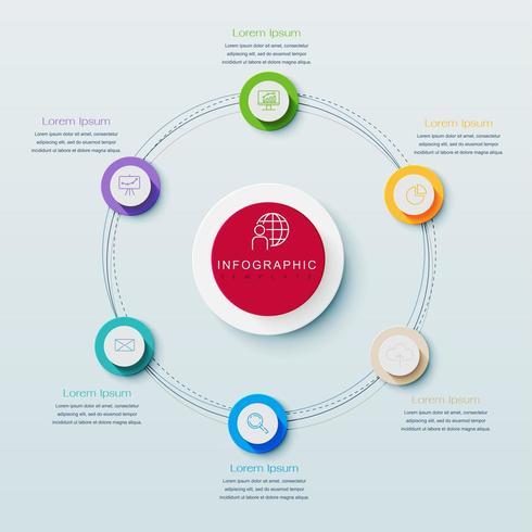 Rundschreiben Infografik mit 6 Schritten, die großen Kreis umgeben