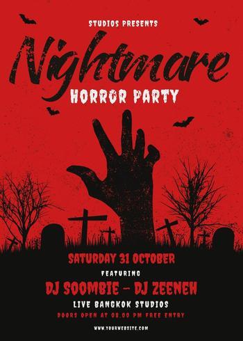 Affiche de la fête d'Halloween avec la main sortant du cimetière vecteur