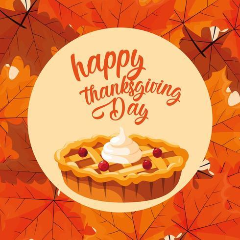 torta del giorno del ringraziamento con foglie vettore