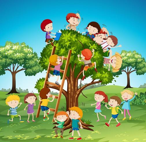 Molti bambini si arrampicano sull'albero vettore