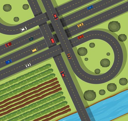 Scen med vägar på landsbygden