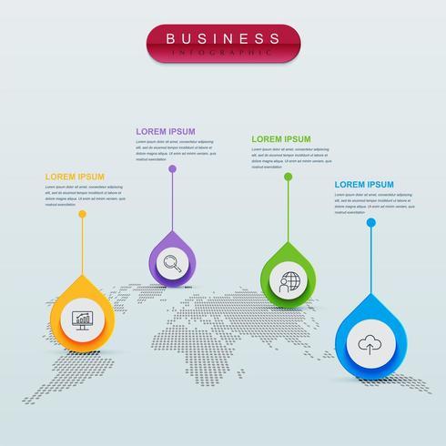 Infografía de mapa mundial con 4 pasos en forma de gota