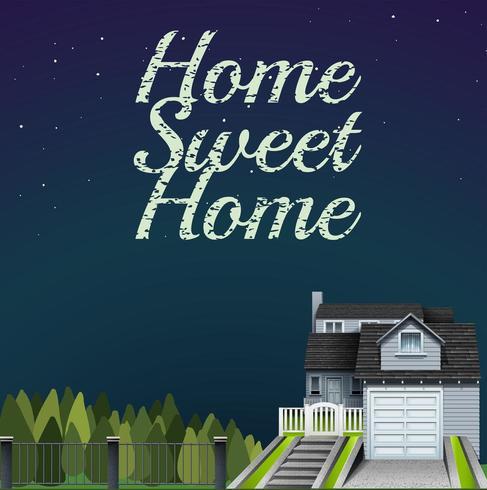 Lettrage maison douce sur ciel nocturne vecteur