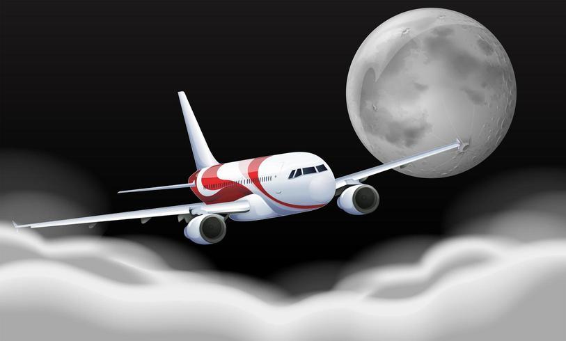 Volo dell'aeroplano davanti alla luna piena vettore