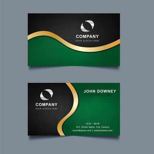 Tarjeta de visita con verde en la parte inferior, negro en la parte superior y dorado Swoosh