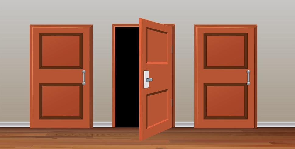 Chambre à trois portes vecteur