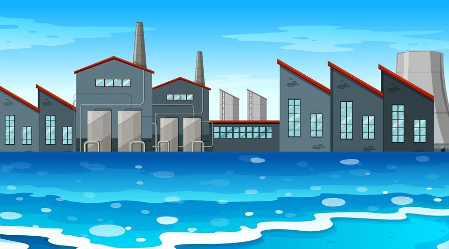 Een stedelijke fabrieksscène aan de waterkant
