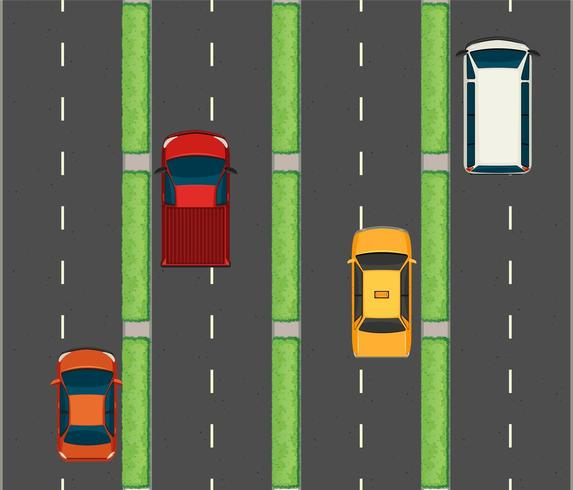 Luchtfoto scène met auto's op de wegen