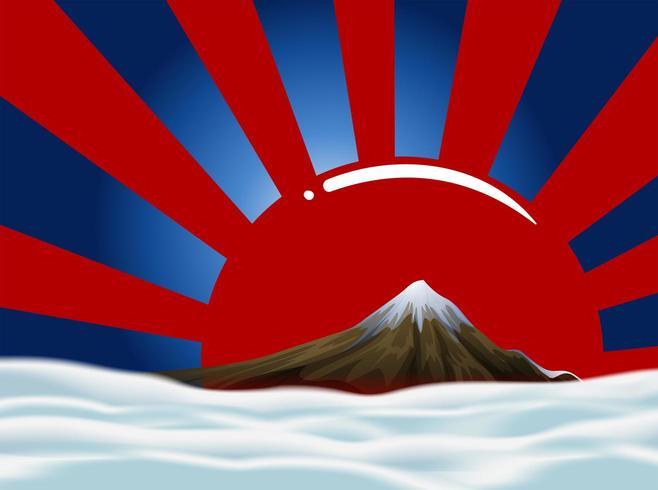 Projeto de plano de fundo com montanha e céu e sol nascente vermelho